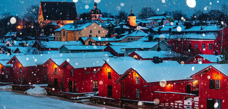Casas nevadas de Porvoo