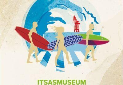 Ilustración de surfistas con tablas en la arena